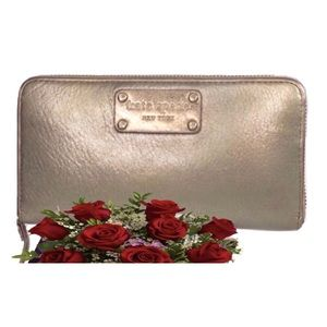 👛2/$50 Kate Spade Metallic Leather Wallet